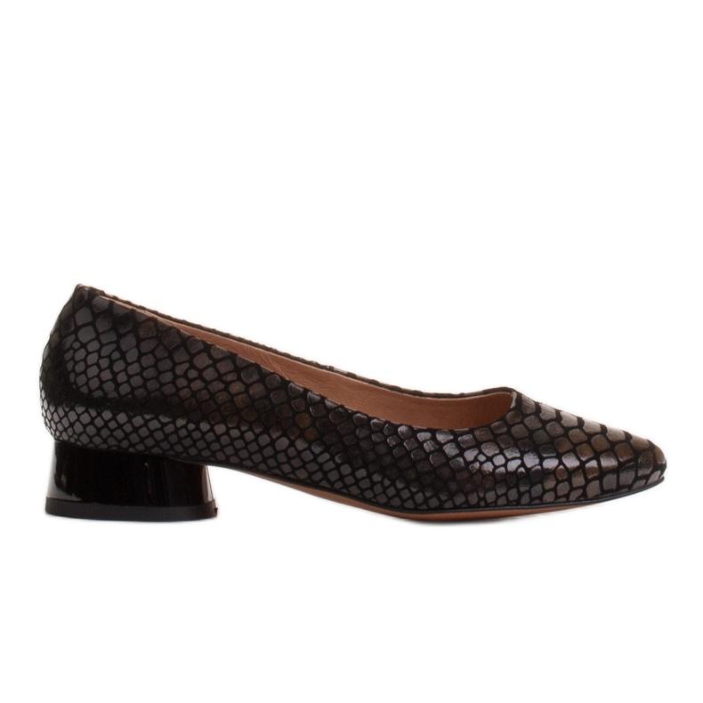 Marco Shoes Käärmeennahkaiset baleriinat, joissa on pyöreä kantapää musta