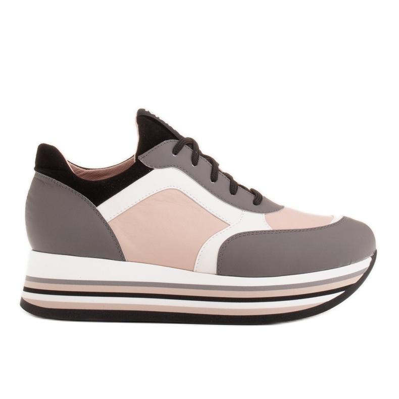 Marco Shoes Kevyet lenkkarit paksulla pohjalla luonnon nahasta harmaa