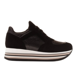 Marco Shoes Kevyet lenkkarit paksulla pohjalla luonnon nahasta musta