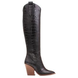 Marco Shoes Naisten cowboy-saappaat, krokokuvioiset musta