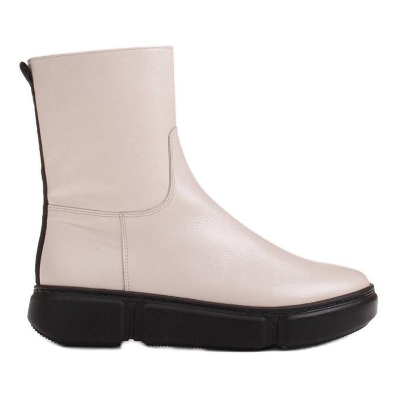 Marco Shoes Urheilulliset valkoiset nilkkurit pehmeästä luonnollisesta nahasta valkoinen