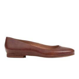 Marco Shoes Ballerinat ruskeasta nahasta, käsin kiillotetut