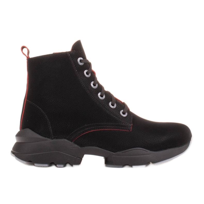 Marco Shoes Sporttiset naisten nupukkikengät, joissa on punaiset insertit musta