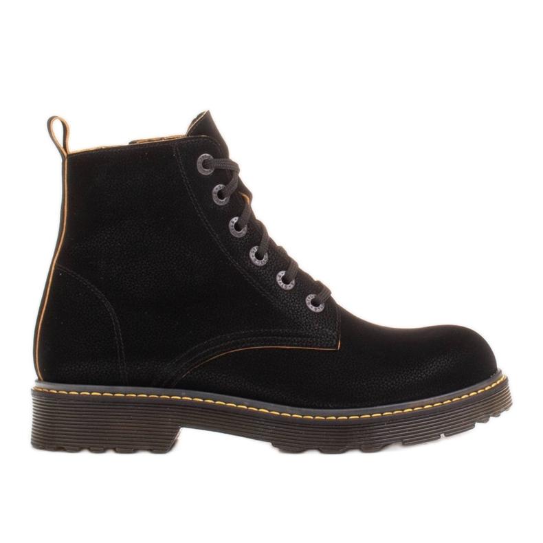 Marco Shoes Korkeat nilkkurit, läpikuultavaan pohjaan sidotut saappaat musta