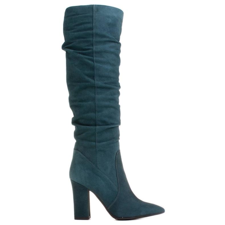 Marco Shoes Vihreät korkeat, rypistyneet saappaat, jotka on valmistettu luonnon mokasta