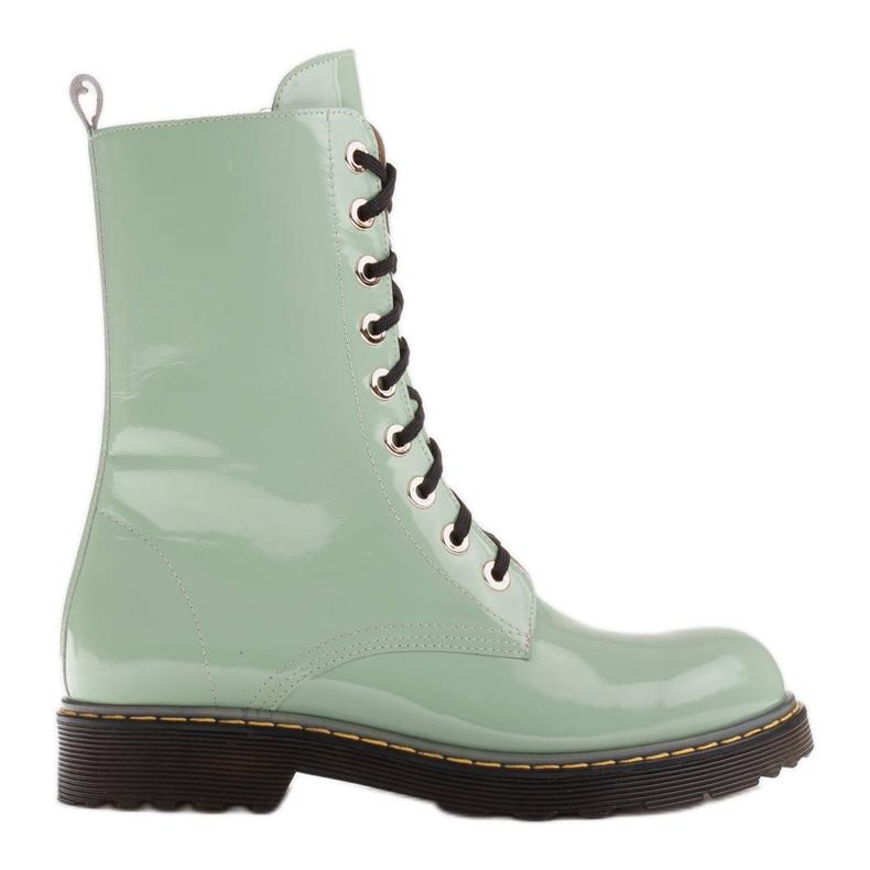 Marco Shoes Korkeat nilkkurit, läpikuultavaan pohjaan sidotut saappaat vihreä