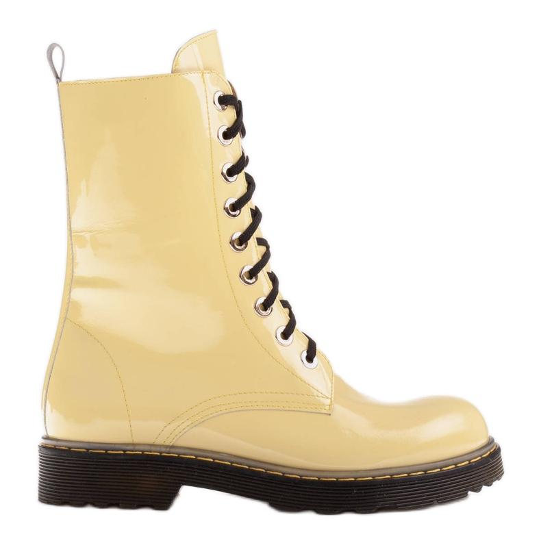 Marco Shoes Korkeat nilkkurit, läpikuultavaan pohjaan sidotut saappaat keltainen