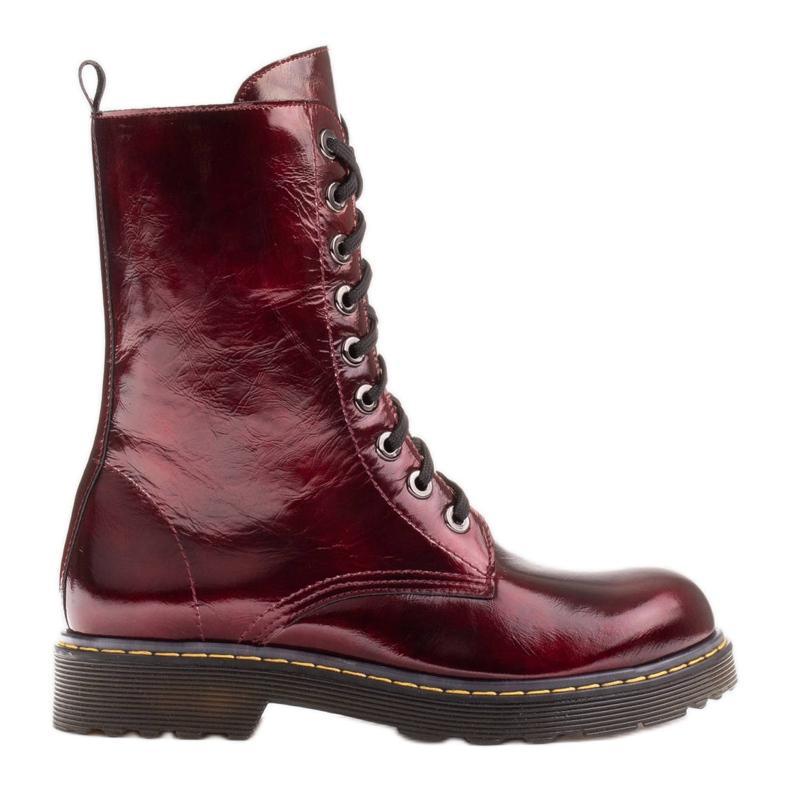 Marco Shoes Korkeat nilkkurit, läpikuultavaan pohjaan sidotut saappaat punainen