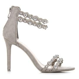 Vinceza Harmaat sandaalit koristeilla