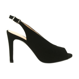 Edeo musta Suede sandaalit pin