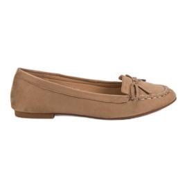 Small Swan Tumma beige loafers, joissa on keula ruskea