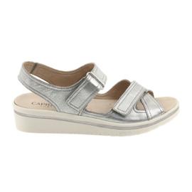 Harmaa Caprice sandaalit naisten nahkakenkiä hopeaa