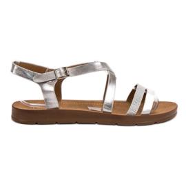 Filippo harmaa Hopeat sandaalit kiteillä