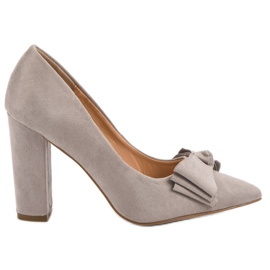 Seastar Suede Pumps With Bow harmaa