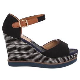 Sandaalit, kiilakorkoiset, musta 9079 Musta