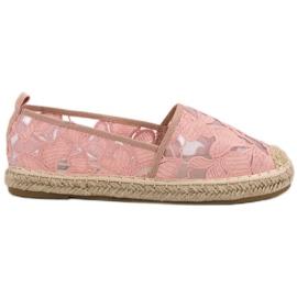 Lucky Shoes pinkki Vaaleanpunainen pitsi Espadrilles