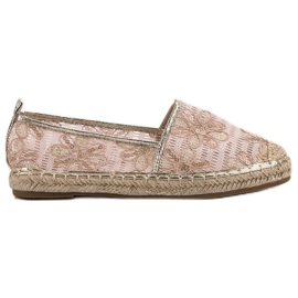 Lucky Shoes pinkki Lace Espadrilles With Flowers
