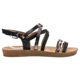 Seastar musta Muodikkaita mustia sandaaleja