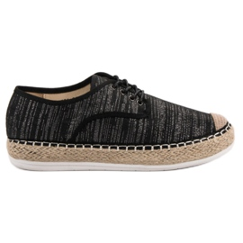 Small Swan musta Lace-up Espadrilles