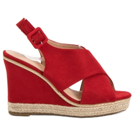Anesia Paris punainen Suede Sandals On Wedge