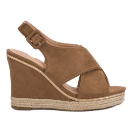 Anesia Paris ruskea Suede Sandals On Wedge