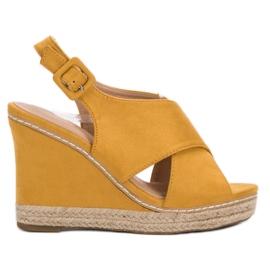 Anesia Paris keltainen Suede Sandals On Wedge