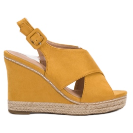 Anesia Paris keltainen Suede Sandals On Wedge