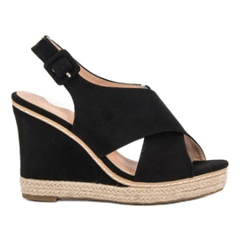 Anesia Paris musta Suede Sandals On Wedge