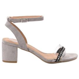 Ideal Shoes harmaa Tyylikäs Suede Sandaalit