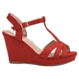 SHELOVET Suede Sandaalit punainen