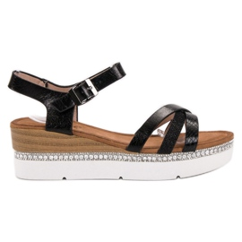 Seastar Muodikkaita sandaaleja zirkoneilla musta