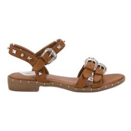 Small Swan ruskea Kamelin sandaalit, joissa nastat