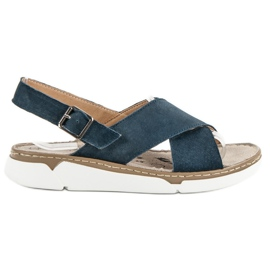 Filippo sininen Nahkaiset sandaalit alustalla