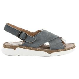Filippo Nahkaiset sandaalit alustalla harmaa