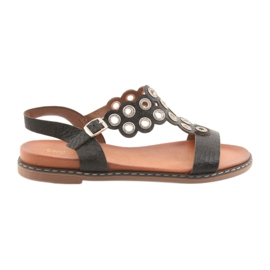 Naisten musta sandaalit zirkonit Sergio Leone