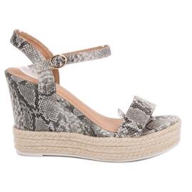 Ideal Shoes harmaa Tyylikäs sandaalit kiilassa