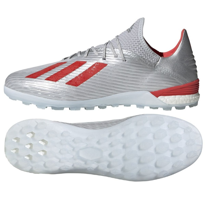 Jalkapallokengät adidas X 19.1 Tf M G25752 punainen, harmaa / hopea hopea