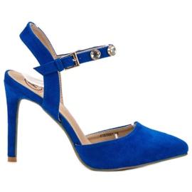 Kylie sininen Stilettot, joissa on altistunut kantapää