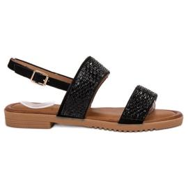 Primavera Mustat sandaalit, joissa kiteet