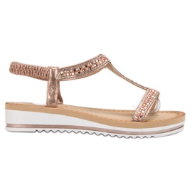 Bestelle pinkki Slip-on Weddered Sandaalit