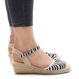 Zebra-sandaalit kiilalla LLI-3M88-7 espadrillit