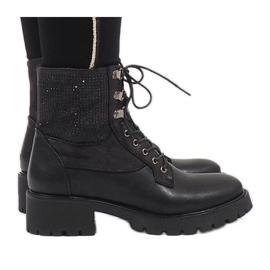 Ideal Shoes Musta pitsi-toppi, jossa on paljetteja 1621