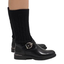 Ideal Shoes Musta lämmin saappaat E-4939