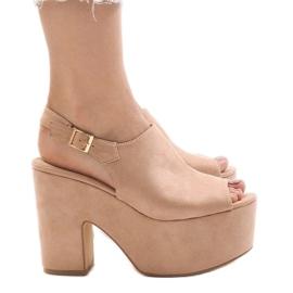 Pinkki Vaaleanpunainen sandaalit massiivisella 8263CA-tiilillä