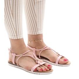 Pinkki Vaaleanpunaiset litteät sandaalit, joissa solki B138-5
