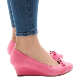 Pinkki Vaaleanpunainen mokka-pumppu kiilakorkoon 50987