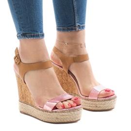 Pinkki Vaaleanpunainen lakattu kiila sandaalit VB76063