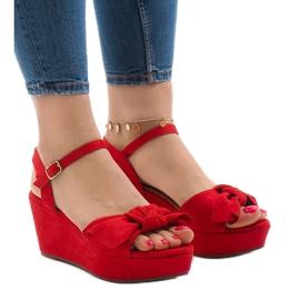Punainen kiila sandaalit F055 keula