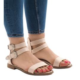 Pinkki Vaaleanpunaiset litteät sandaalit, joissa solki 170