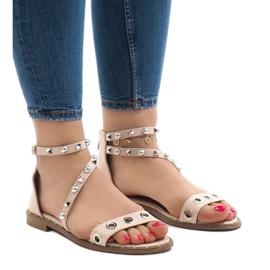 Pinkki Vaaleanpunaiset litteät sandaalit, joissa on solki 18124-40